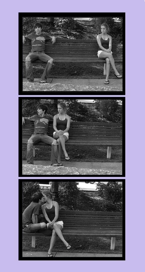 Скамейка и поцелуй - картинки про любовь