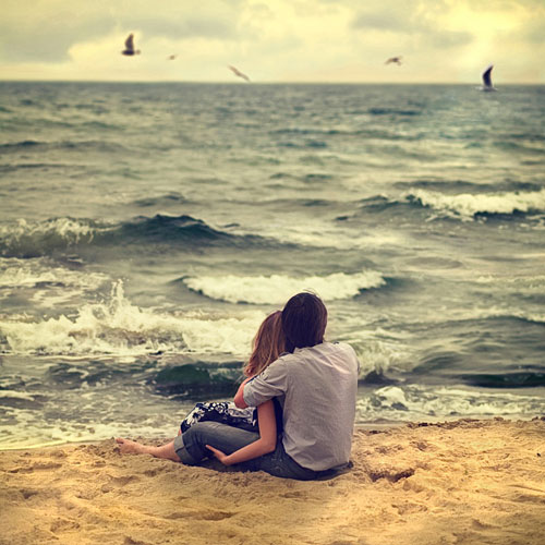 Влюбленные, море, чайки - картинки про любовь