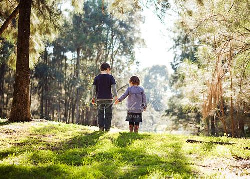 В ярком утреннем лесу - дети гуляют