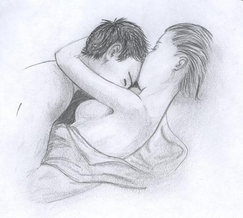 В объятиях любимой - рисунок карандашом