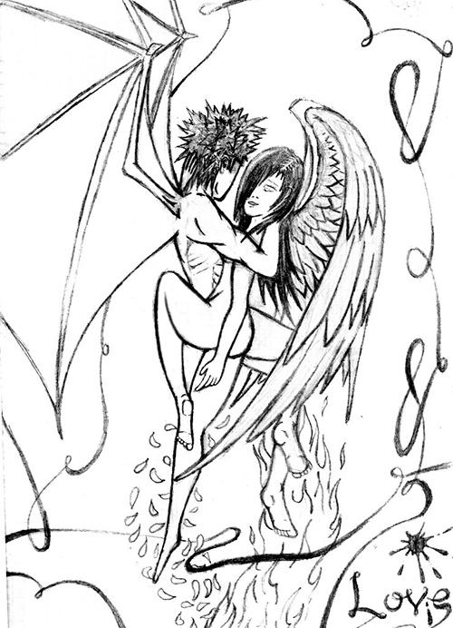 Ангел и демон в любви - рисунок карандашом