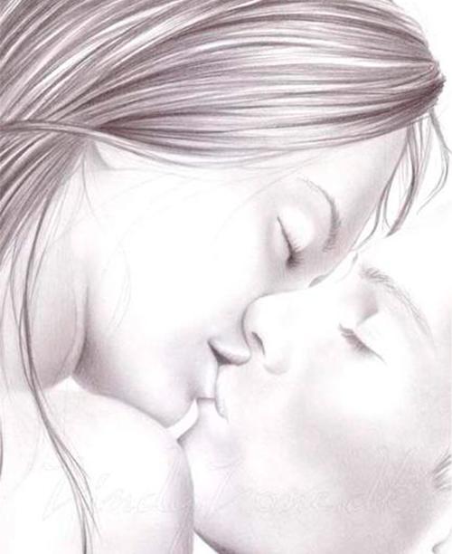 Красивый поцелуй - рисунок карандашом