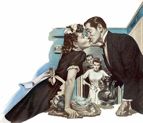 Поцелуй между работой