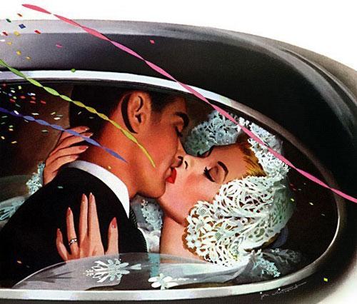 Свадебный поцелуй в лимузине - открытка