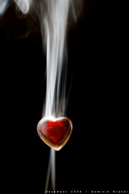 Стеклянное сердечко с дымкой