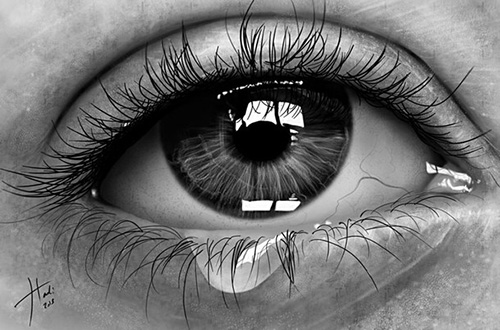 Застывшая слеза - рисунок карандашом
