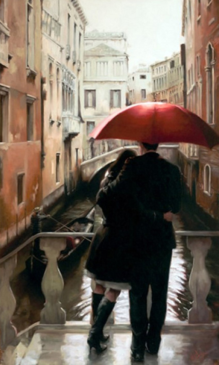 Влюбленные в Венеции под красным зонтом