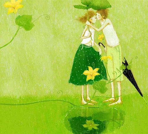Счастье под зонтиком из листьев