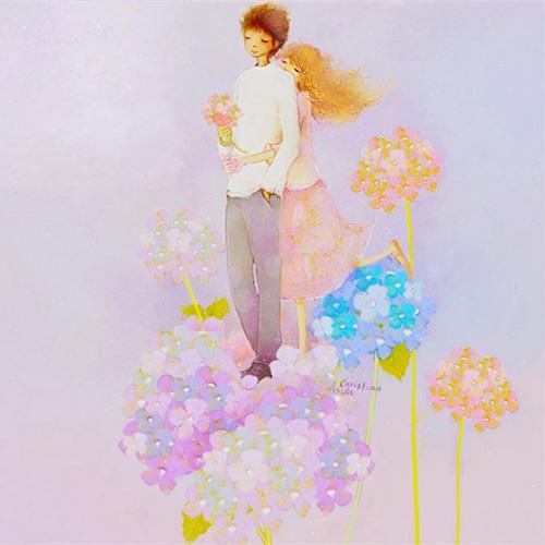 Влюбленные на цветочном облаке