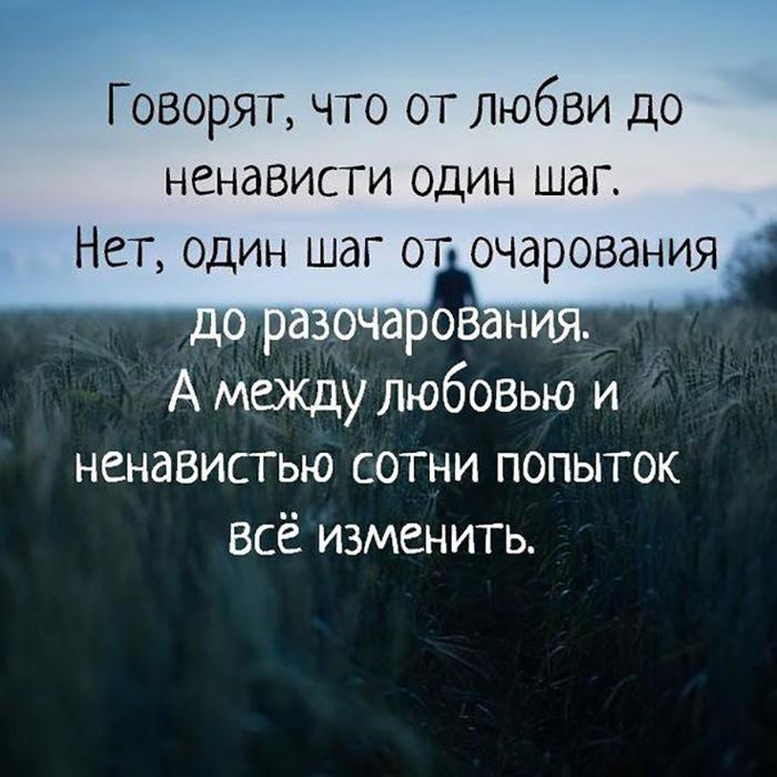 Говорят от любви до ненависти один шаг. Нет, один шаг от очарования до разочарования...