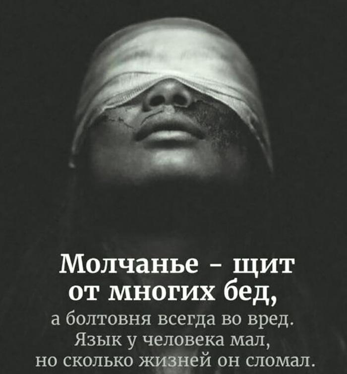 Молчанье - щит от многих бед, а болтовня всегда во вред...