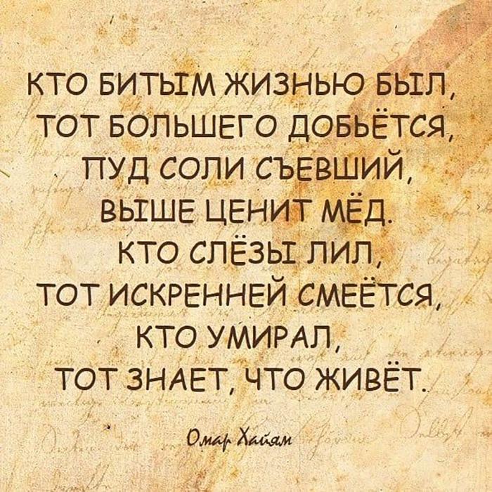 Кто битым жизнью был, тот большего добется, Пуд соли съевший, выше ценит мед. Кто слезы лил,.. Омар Хаям