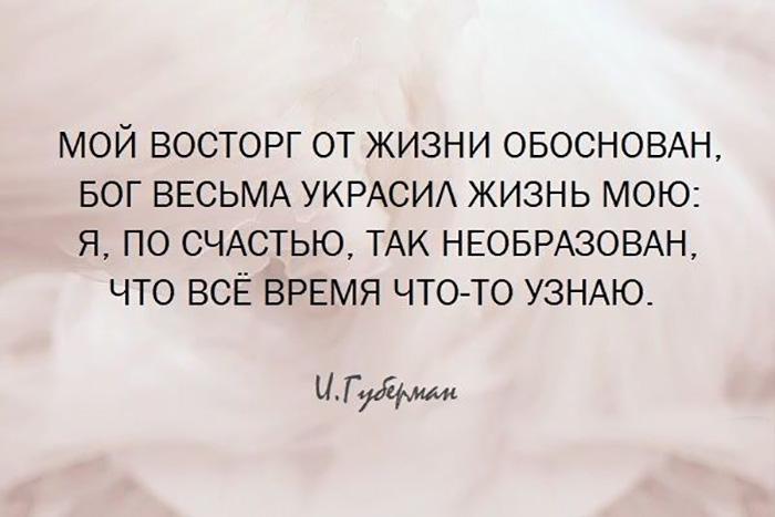 Мой восторг от жизни обоснован, Бог весьма украсил жизнь мою...  Игорь Губерман