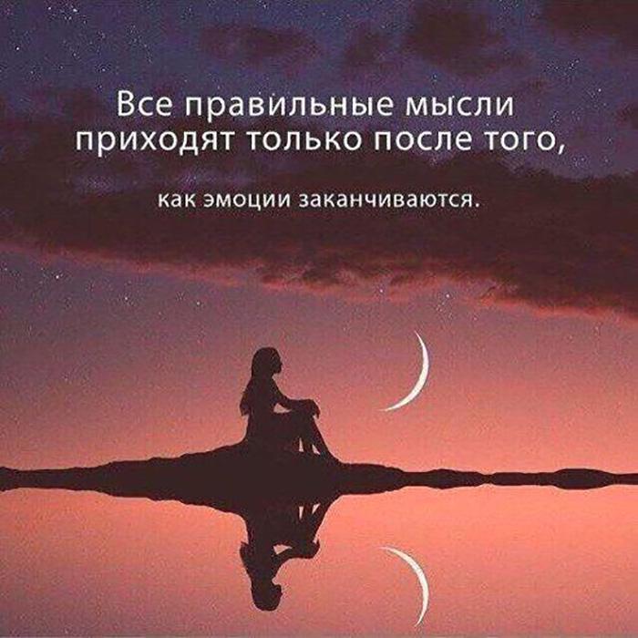 Все правильные мысли приходят только после того, как эмоции...