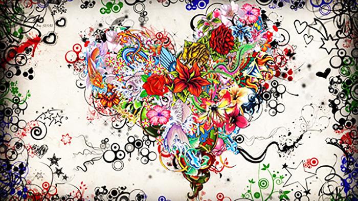 Цветочно-сердечная абстракция