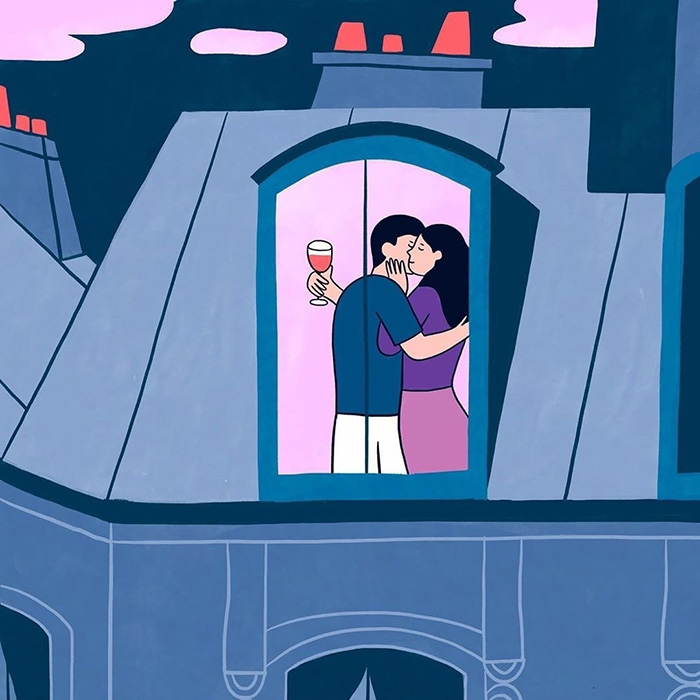Объятия в розовом окне