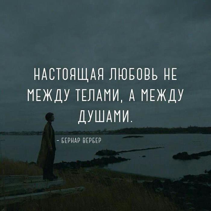 Настоящая любовь не между телами, а между душами. Бернар Вербер